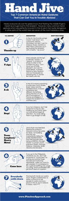 Hand Jive - 7 hand gestures to avoid when traveling internationally #infographic