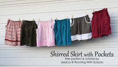 free tutorial and pattern Shirred Pocket Skirts