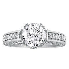 Hansa 1.90ct Diamond Round Engagement Ring in 18k White Gold, H-I, SI2-I1, Available Ring Sizes 4-9.5: This… #DiamondJewelry #DiamondRings