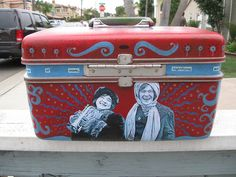 """Upcycled Train Case, """"The Laughter of Women"""" ...wonderful!!"""