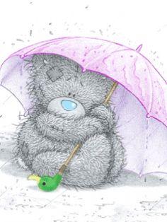Cute tatty teddy under umbrella in rain