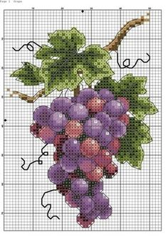 Grapes Cross Stitch Pattern (Website has lots of nice fruit & vegetable patterns)