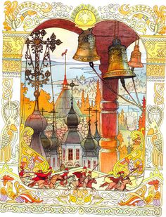 Tale of the Priest and His Worker Balda, 1830 by Ivan Bilibin on Curiator, the world's biggest collaborative art collection. Russian Folk, Russian Art, Ivan Bilibin, Russian Culture, Russian Painting, Fairytale Art, Children's Book Illustration, Book Illustrations, Les Oeuvres