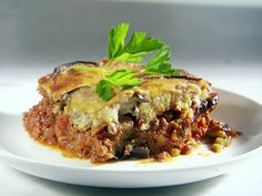 Moussaka: eggplant, meat, tomatoes, onions, olive oil... from Food Network