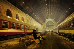 Budapest train station. I will forever be in love with trains and train stations.