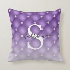 Luxury Violet Tufted Faux Diamond Ombre Monogram Throw Pillow | Zazzle.com (sponsored) Purple Throw Pillows, Decorative Throw Pillows, Violet Background, Ombre Effect, Monogram Initials, Shades Of Purple, Free Sewing, Custom Pillows, Home Decor Inspiration
