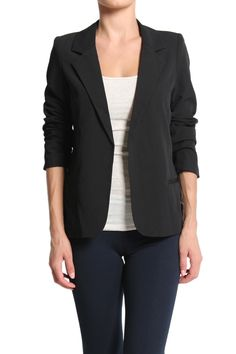 TheMogan Slim Fit Open Front Suiting Jacket