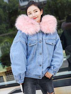 Denim Jacket With Fur, Blue Jean Jacket, Denim Coat, Faux Fur Jacket, Denim Jackets, Hooded Jacket, Moto Jacket, Leather Jacket, Denim Mantel