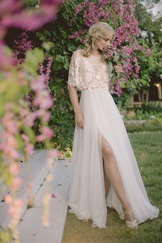 KAYLA GOWN- Beautiful lace Bohemian wedding dress with sleeves
