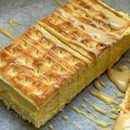 Using an entire block of Cadbury Caramilk, this no-bake custard slice is sandwiched between two lattice biscuits for a decadent dessert. Custard Recipes, Sweets Recipes, Cake Recipes, Cooking Recipes, Sweet Desserts, Easy Desserts, Custard Slice, Sweets Cake, Appetizers