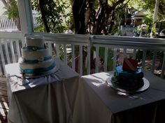 Wedding cake and Groom's cake at Kelly's Caribbean Bar, Grill and Brewery in Key West. Key West Wedding, Wedding Dj, Wedding Cakes, Marathon Photo, Dance Floor Lighting, Florida Keys Wedding, Bar Grill, Destin Beach, Grooms