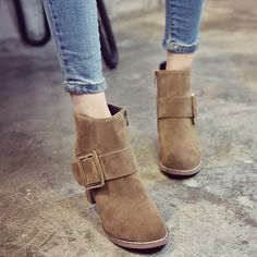 Find More Women's Boots Information about 2016 Fall new ladies short boots belt buckle fashion Martin boots flat bottom round and bare boots short tube,High Quality boot bag,China buckle news Suppliers, Cheap boots for sale cheap from GengNan store on Aliexpress.com