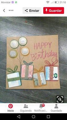 Geburtstagskarte basteln mit Geldscheinen – Carola Birthday card tinkering with banknotes – card Birthday Card With Photo, Happy Birthday Cards, Birthday Presents, Creative Birthday Cakes, Diy Birthday, Creative Money Gifts, Gift Money, Card Drawing, Diy Cards