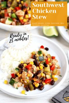 This flavorful Southwestern Chicken Stew is made in less than 30 minutes! Tender and juicy chicken breast, black beans, corn and lots of veggies makes this stew the perfect hearty one pot meal for busy weeknights! #withvegetables #recipe #easy #healthy #glutenfree #quick #Texmex Fancy Dinner Recipes, Supper Recipes, Easy Recipes, Stew Chicken Recipe, Chicken Recipes, Easy Weeknight Meals, Easy Meals, Meal Ideas, Food Ideas