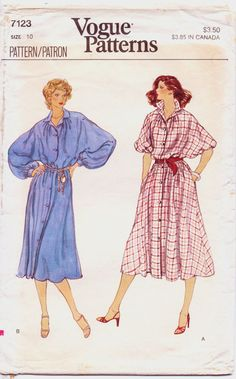 1970s Vogue Pattern 7123 Womens Button Front Dolman by CloesCloset, $8.00