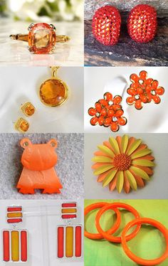Orange Delight - Vintage Jewelry from Vjt by moonbeam0923 on Etsy--Pinned with TreasuryPin.com