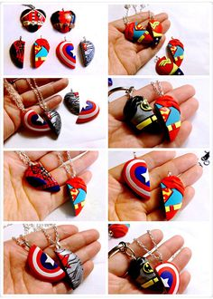 Polymer clay Superman Heart Pendant Necklace / BFF by GUOCRAFTS