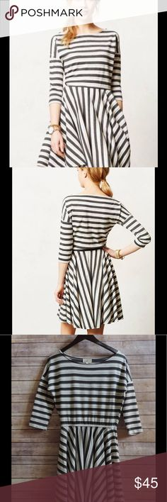 PUELLA Small Midday Knit Dress Gray Striped Knit EXCELLENT used condition... may have been worn once or twice (if at all!) - 3/4 Length Sleeves - Gray & White Stripe in Varying Widths -  VERY full Panel Style skirt... no gathering at the Waist - Fabric is a Knit... with some light stretch to it Anthropologie Dresses