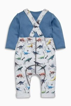 Buy Multi Printed Jersey Dino Dungarees (0mths-2yrs) online today at Next…