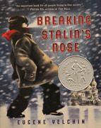 Breaking Stalin's Nose by Eugene Yelchin, published by Henry Holt and Company, LLC.    On the eve of his induction into the Young Pioneers, Sasha's world is overturned when his father is arrested by Stalin's guard. Yelchin deftly crafts a stark and compelling story of a child's lost idealism.