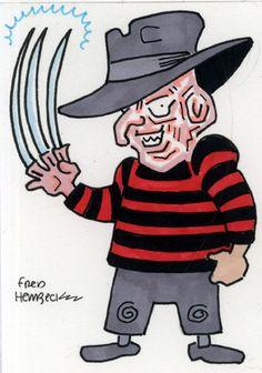 Fred Hembeck Color Sketch Card: Freddy Krueger, A Nightmare On Elm Street  1/1