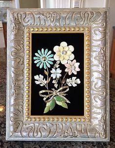 Vintage & Costume Jewelry Framed Elegant Flower Art