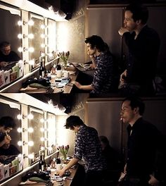 Andrew Scott and Ben Whishaw in dressing room before 'Cock'