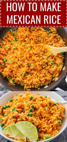 This mildly spicy Mexican rice is easily cooked using a pan on the stove, and has lime, onion, and garlic flavors. It's restaurant style, and an easy to make recipe! #recipe #mexican