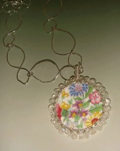 Pendant made from broken china, Dish and Chips