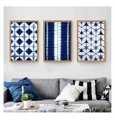 Fabric Wall Decor, Blue Wall Decor, Frame Wall Decor, Frames On Wall, Framed Fabric Art, Diy Bedroom Decor, Diy Home Decor, Japanese Wall, Fabric Coasters