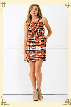 Orange and blue dress from Francesca's Collection  (No longer available -- so basically, I'm heart-broken)