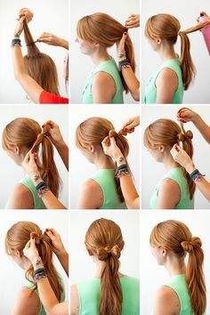 Hair bow ponytail.
