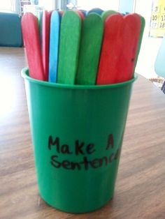 This is an activity I use with 2 to 5th grades. They pick 3 sticks  (1 of each color). They construct a sentence using the 3 words. They can change the words and add words to make a grammatically correct sentence. I use small dry erase boards I got at Target @ $1.00 each. We edit their sentences together. Students get points by adding numbers on the sticks chosen.