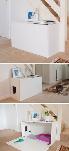 10 Ideas For Hiding Your Cats Litter Box // Turn an Ikea cabinet into a contemporary hiding place for the litter box. #catsdiyinspiration