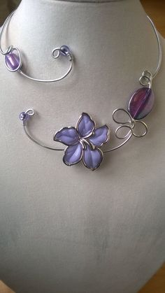 Statement necklace Lilac jewelry  Wedding by LesBijouxLibellule