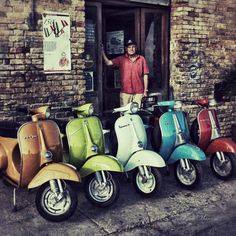 "Vespa colours..#Italy - My brief ""mod"" moment was on a #Lambretta, built in Milan.."