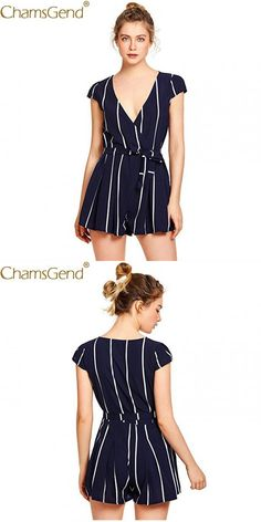 4ad6477348da Women ol fashion summer shorts rompers jumpsuit blouse lady short sleeve v  neck striped playsuit with