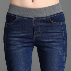 Women's Fashion Loose Casual High Waist Jeans Elastic Waist Cowboy Feet Pants Pencil Pants Plus Size - Herren- und Damenmode - Kleidung Ripped Jeggings, Ripped Skinny Jeans, Sewing Clothes, Diy Clothes, Clothes For Women, Casual Jeans, Denim Jeans, Black Jeans, Diy Pantalon