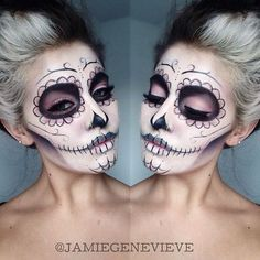 Love this Dead Sugar Skull Halloween makeup looks soo scary and amazing my favourite love it amazing. Sugar Skull Makeup Tutorial, Halloween Makeup Sugar Skull, Skeleton Makeup, Halloween Makeup Looks, Halloween Costume Couple, Easy Halloween, Day Of Dead Makeup, Holiday Makeup, Maquillage Halloween
