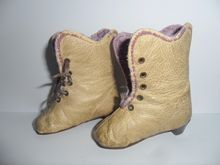 Cream & Lilac Leather Boots For French Fashion c1880