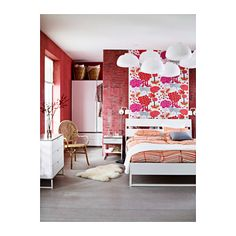 TRYSIL Bed frame IKEA The angled headboard allows you to sit comfortably when reading in bed.