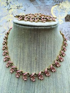 Vintage Coro Pink Enamel Choker Necklace Set, Pink Flower Coro Bracelet, Estate Jewelry, Pink Jewelry by theglassfeathernest on Etsy https://www.etsy.com/listing/259763770/vintage-coro-pink-enamel-choker-necklace