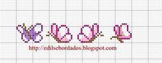 Edilse Bordados: Monograma de borboletas em ponto cruz!!!