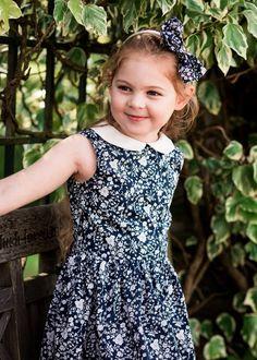 "Sleeveless Peter Pan Liberty Print Girls Dress - ""Lulu"""