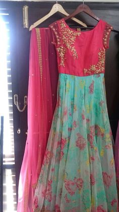 Young and chirpy! Long Dress Design, Dress Neck Designs, Blouse Designs, Long Gown Dress, Saree Dress, Long Frock, Indian Gowns Dresses, Indian Outfits, Indian Clothes