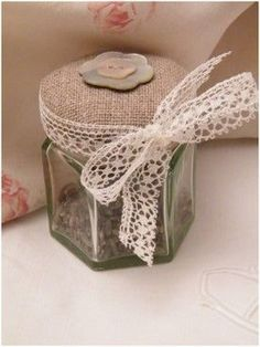 linen topped jar of lavender or to store ribbons