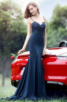 eDressit Spaghetti Strips Sweetheart Blue Lace Mermaid Dress (00171805)