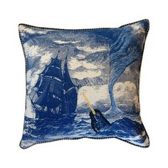 Nautical Narwhal Throw Pillow~~The Sailors' Saloon: sounds like a great name for a Man Cave!