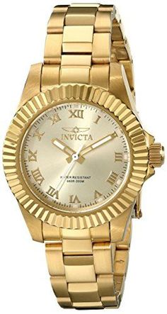 Invicta Womens 16762 Pro Diver Analog Display Swiss Quartz Gold Watch ** Click image for more details.