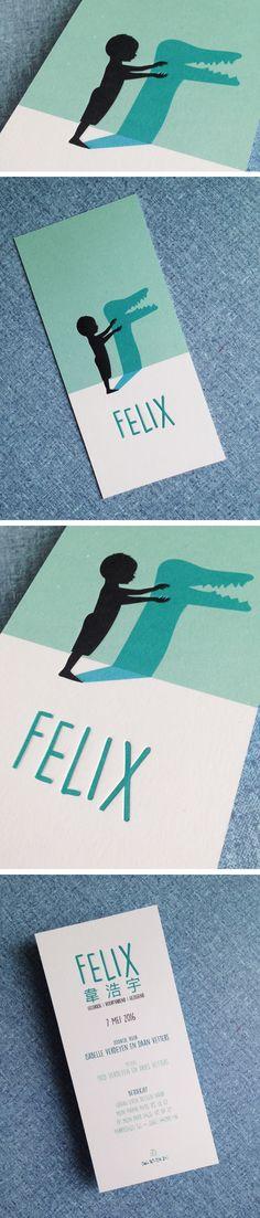 Geboortekaartje Felis // stoer // jongen // krokodil // diepdruk